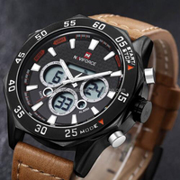 Naviforce Brand Men Digital Watch Analog-digital Display Led Watch Genuine Leather Sport Watches For Men Waterproof Montre Hmme