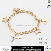 gold plated chain charm bracelet with stainless steel titanium steel beads charm bracelet