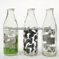 Round 1 liter glass milk bottle manufacturer wholesale bottle with tin lid