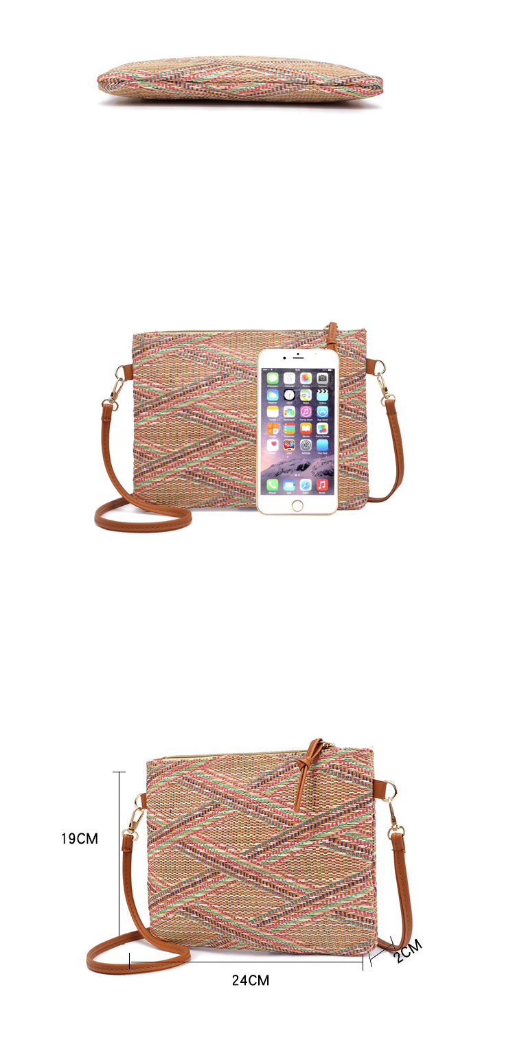 Wholesale Cheap Price Women Handbags PU Leather Shoulder Strap Straw Messenger Bag with Zipper