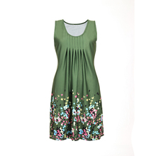 5 Colors Custom Casual Printing Maxi Pleated U Neck Green Dress