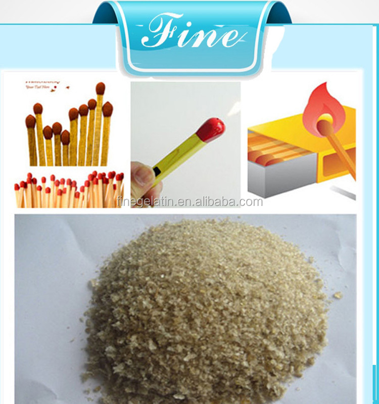 Industrial gelatin as adhesive for match head