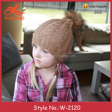 W-2120 new children Fur Pom Pom Beanie Hat