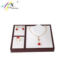 High Quality Leatherette Jewelry Set Display Tray Necklace Ring Earrings Holder for Counter