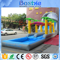 Famous cartoon theme climbing inflatable slide with pool combo for kids/adults