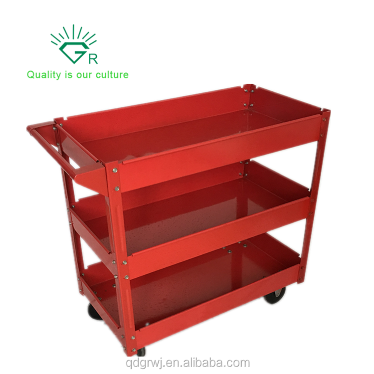Metal Utility Service Cart and Service Tool Cart with Three Storage Tray Shelves