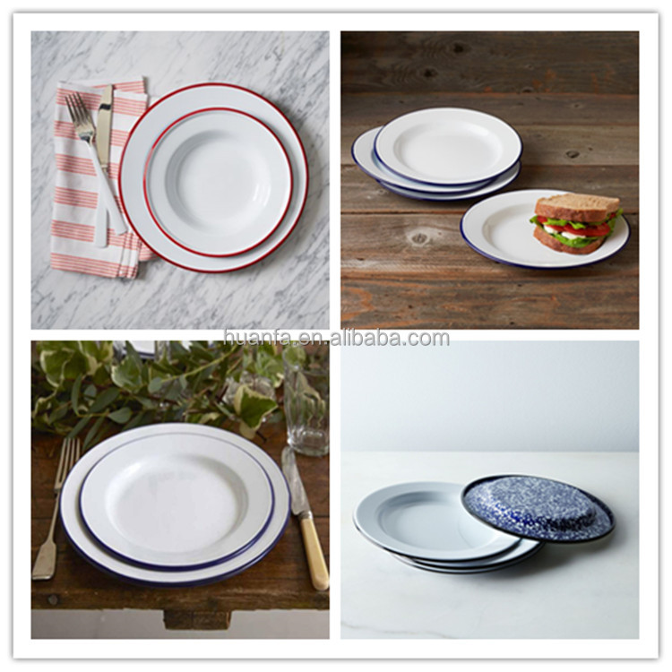 Antique Vintage White Enamel Metal Dinner Plates With Customized Rim Enamelware Piedish Plates