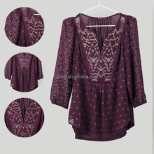 2015 hot selling women blouse OEM long sleeve fashion office with embroidery and sequin and beads ladies blouse
