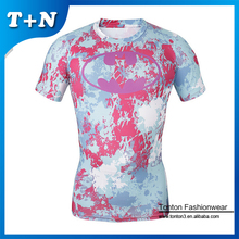 New camo design mens sublimated compressed tee shirts rash guard shirts