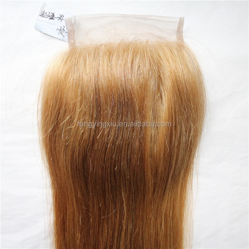 Chinese remy human hair 4*4 blonde hair bundles with lace closure