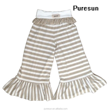 High quality knitted 100% cotton baby Girls boutique stripes big ruffle dress pant clothing set