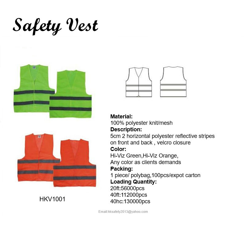 100% polyester knit/mesh cheapest reflective safety vest