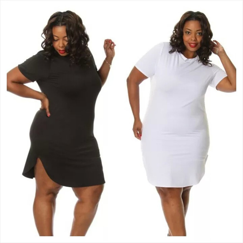 Buy Women T Shirt Dresses O Neck Short Sleeve Side Split Summer