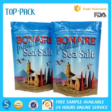 Gloss bule printed laminated stand up zipper bath salt packaging bag with window
