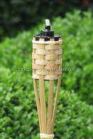 Nature bamboo garden torch with black metal tank and new wikc holder and weaving