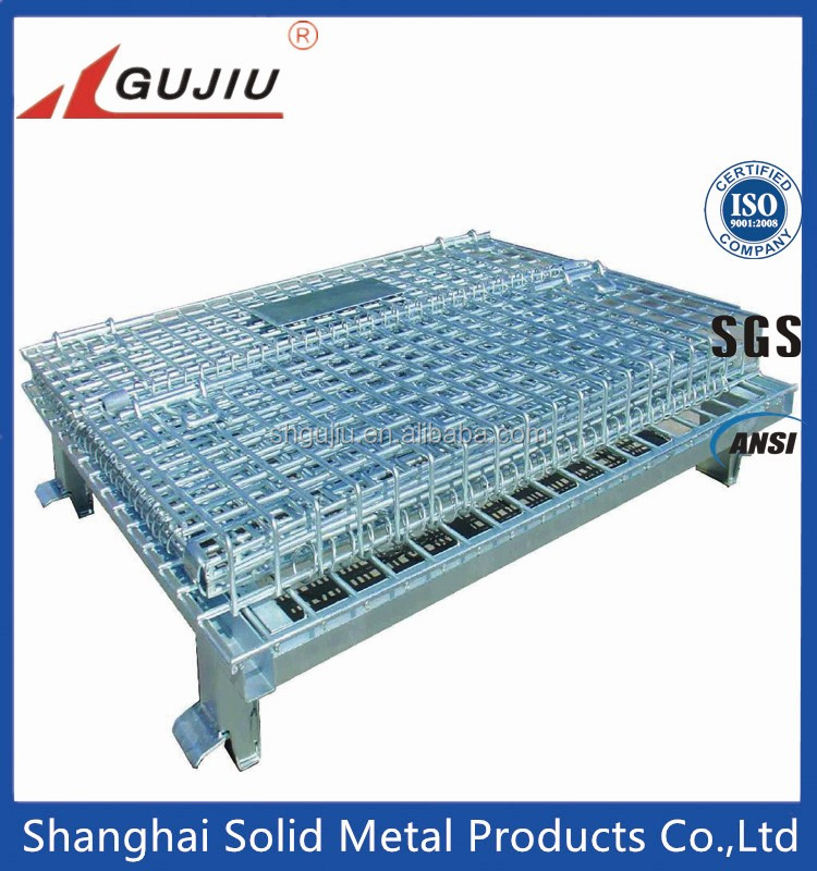 Wire Mesh Folding Wire Pallet Cage With Wheels