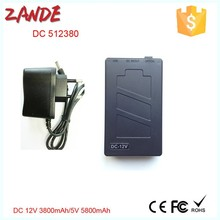 Zande DC-512380 black 12V 3800mAh & 5V 5800mAh 2IN1 Rechargeable li-ion battery,power bank