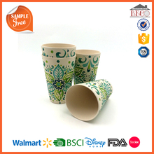 2017 customized pattern 70% bamboo fiber cup set 400ml plastic drinkware