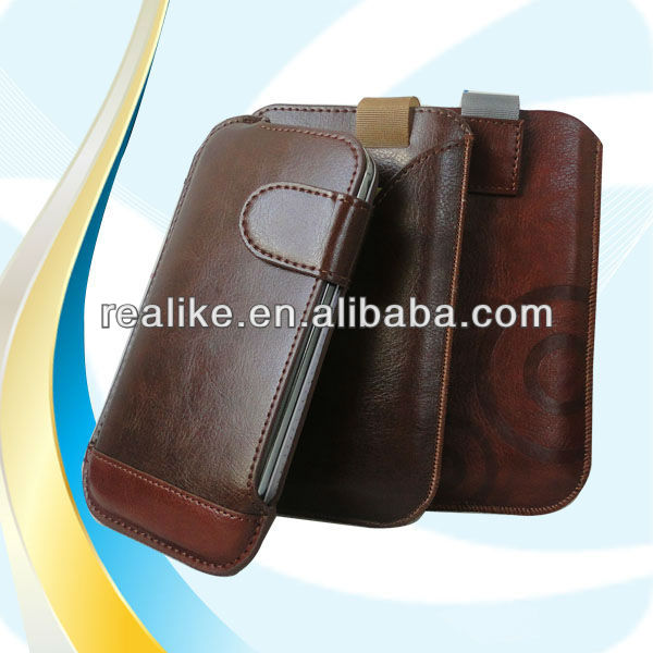 leather cover pull tab case pouch for samsung galaxy grand neo