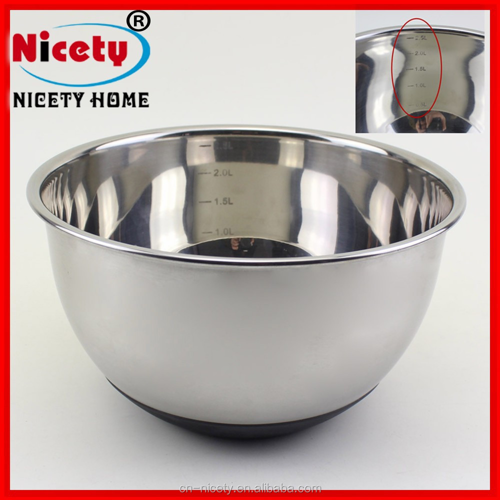 16cm Stainless steel mixing bowl with silicone bottom and tick mark