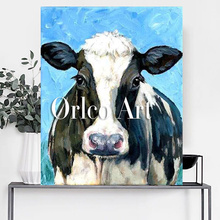 Hand Painted Skills Artist Handmade High Quality Abstract Animal Cow Oil Painting Pop Art Oil Paints For Living Room