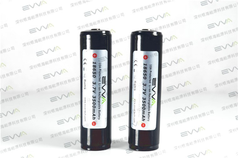 EVVA Quality 18650 3500mAh 10A Protected Button Top Rechargeable Li-ion Battery for Flashlight