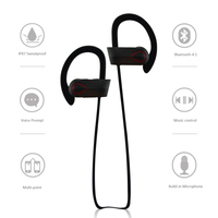 Sweatproof bluetooth headset wireless microphone, RU9 bluetooth headset with digital recording
