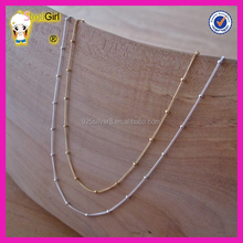 Latest design silver satellite chain necklace cheap silver beaded chain necklace