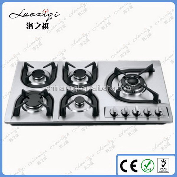 Stainless steel 5 burners gas hob/gas stove, electric ignition gas stove