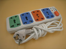 China hot selling european plug 4 outlet extension socket / power strip with red switch and wire factory price