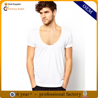 deep v neck long sleeve cotton t shirts for man