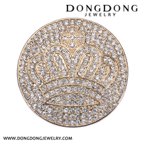 2017 Top Selling round metal crown graphic Alloy Fashion Brooch