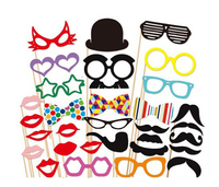 31 pcs On A Stick Photo Mustache Booth Props Christmas Birthday Wedding Party Photos Props