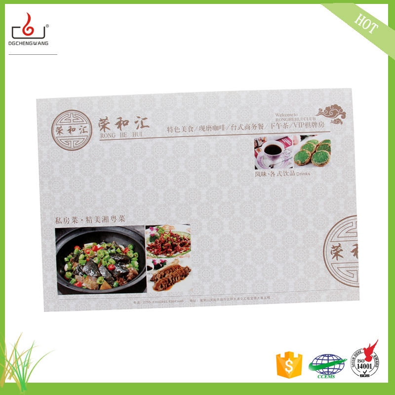 Customized Disposable Recycled Paper Placemats/table mat for restaurant