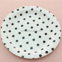 9'' Black Dot Round Paper Dishes for Party Wedding Decorations