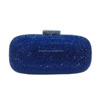 Wholesale Ladies Blue Women Party Purse with Crystal Rhinestone Hard Case Evening Clutch Bag