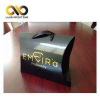 High quality custom color hot stamping hair extension packaging pillow box