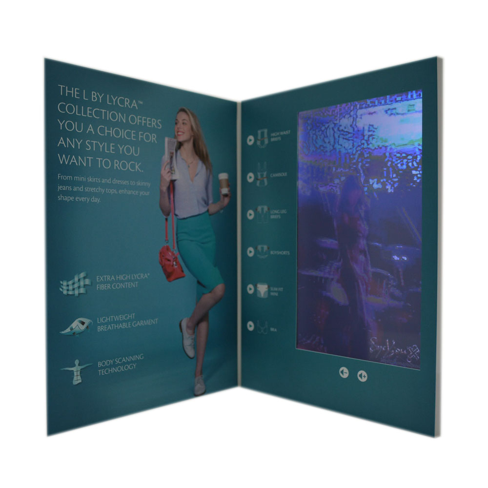 "10"" digital screen LCD video player greeting card video brochure paper card used for party invitation and business promotion"