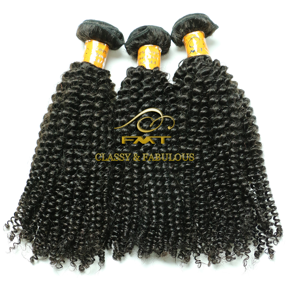 Alibaba Original Natural 1b Color Virgin Kinky Curl Brazilian Human Hair Weaving