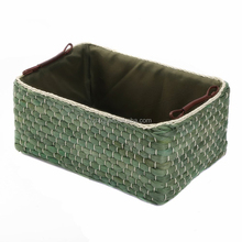 Woven corn grass Home Storage Fabric Lined woven storage box