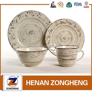 Resturant Used Glazed Embossed Stoneware Dinnerware Set with from sample