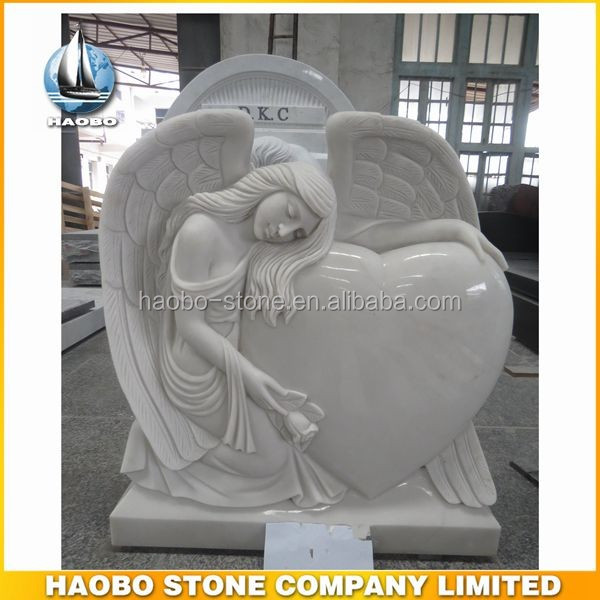 Haobo Chinese White Marble Angel Headstone