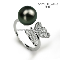 Latest fashion designs beautiful butterfly natural pearl ring women jewelry