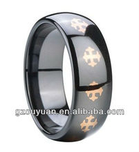 New high quality black ceramic ring, Rose gold plated unique cross ceramic ring, fashion engagement ring