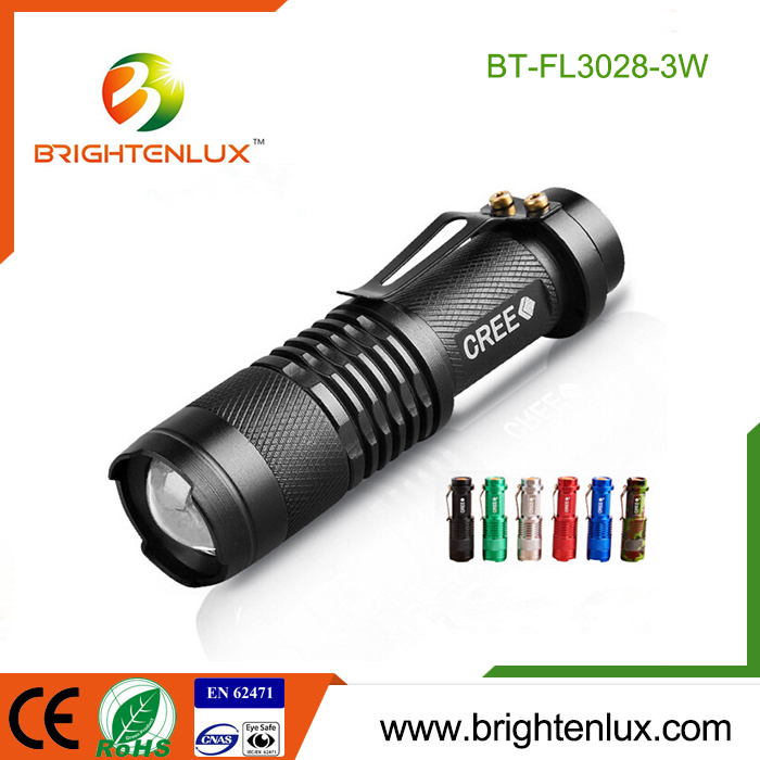 Factory Supply Super Bright Handheld 3 modes Zoomalbe <strong>Cree</strong> Q5 led Mini Flashlight Torch with Clip