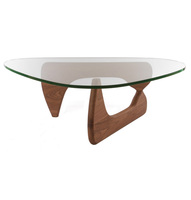 high quality glass top Isamu coffee table with ash wood leg