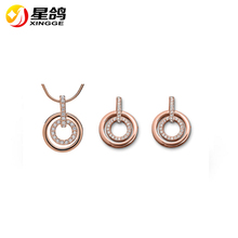 Open Double Circle Round Silver Gold Rose gold Plated Crystal Temparament Women Pendant Necklace Earring Stud Jewelry Sets