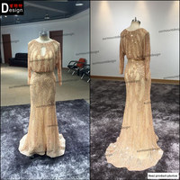 Surmount Real Pictures Custom Made Round Neck Long Sleeve Floor Length Sheath Formal Evening Dress