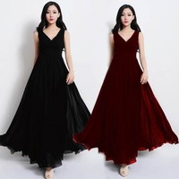 Fashion Latest Design Plain Black Red V-Neck Sleeveless Maxi Chiffon Casual Dress SV020290