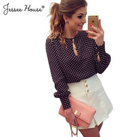 MOON BUNNY Plus Size Blusas Femininas Blusa De Renda 2015 Polka Dot Vintage Chiffon Ladies Blouse Tops Long Sleeve Women Shirt B